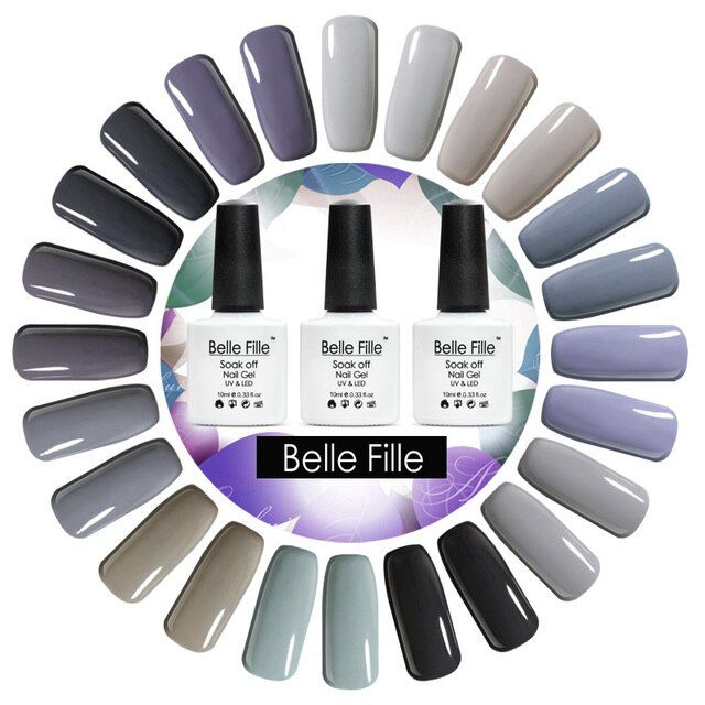 Belle Fille 2018 Newest Gray Color UV Led Gel Nail Polish Soak Off  Gel Varnish Long Lasting Nail Polish Gel Lacquer Nail Art