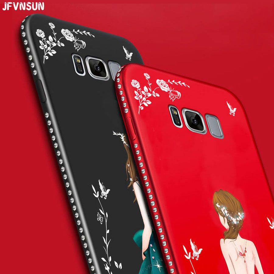 New Rhinestone Case For Samsung Galaxy S8 / S8 Plus Luxury 3D Relief Dress Girl Pattern Silicone Cover for Samsung S8 Plus Cases