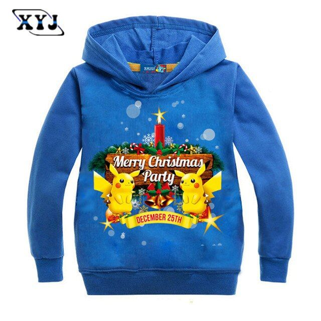 2016 Pokemon Christmas Party Costume Long Sleeve T-shirt For Children New Year Clothing Casual Tops Student Sport Tees For Boys