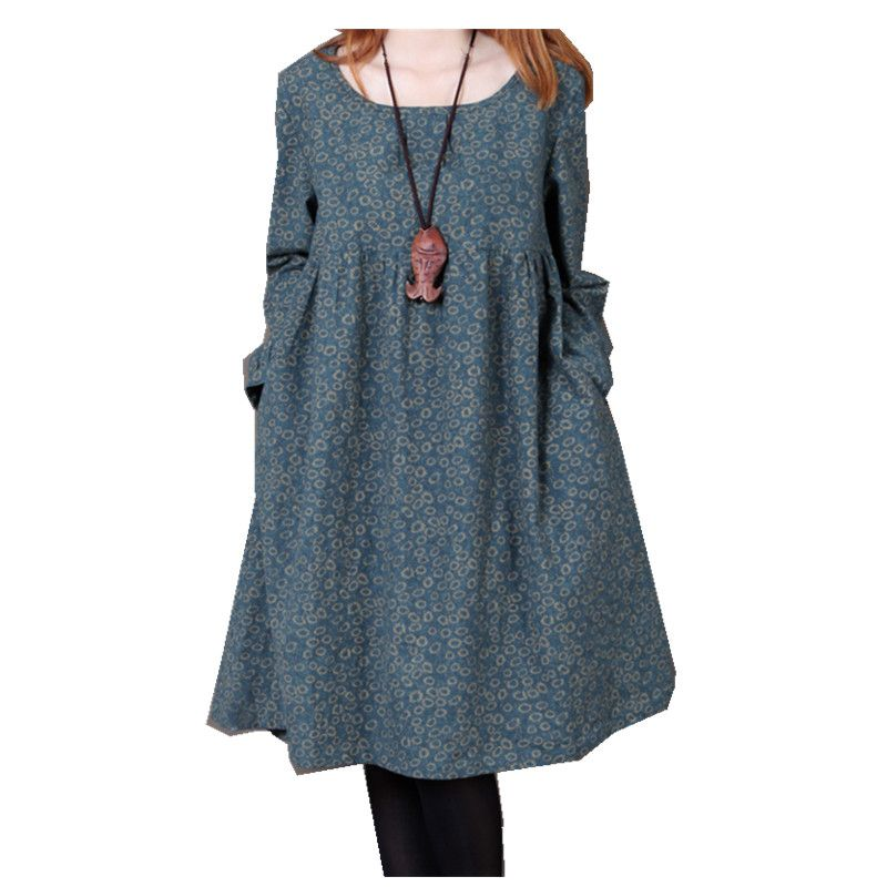 Cotton printed Dresses Spring Autumn Women's Casual Plus Size Fashion Long Sleeve Dress Ladies' Loose O-neck Knee-Length Dress