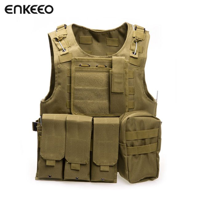 Enkeeo Camouflage Military Tactical Vest Wargame Body Molle Armor Hunting Vest CS Outdoor Jungle Equipment Vests