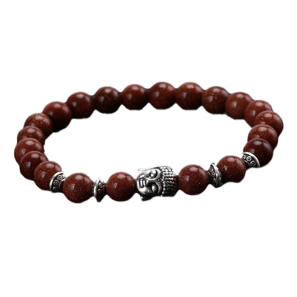 Fashion Charm Punk Lava Natural Stone Head Buddha Beaded Rock Handmade Bracelet Jewelry For Women And Men