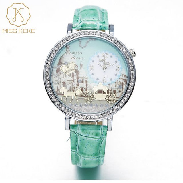 Women Watch Lady MISS KEKE 3D Clay Horse Womens Watches With Rhinestones PU Strap Cute Green Women Watches Fashion Wristwatches
