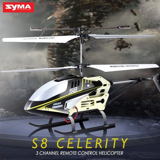 SYMA S8 3.5CH RC Helicopter Electric with Gryo Remote Control Searching Light RTF Model Toys Gift for Child