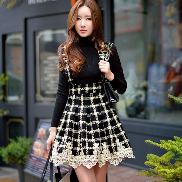 Original 2016 Brand Autumn and Winter Plus Size High-Waisted Embroidery Slim Vintage Women Black Plaid Woolen Skirt Wholesale