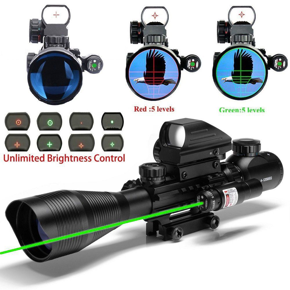 Spike tactical hunting Riflescope 4-12x50 optic sight with green dot laser sight and holographic red&green dot Sight for sniper