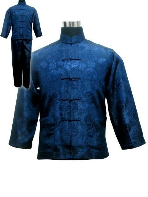Navy Blue Spring Chinese Men's Satin Polyester Shirt Trousers Kung Fu Suit S M L XL XXL M3020