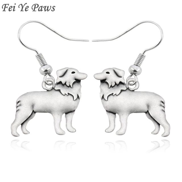 Boho Antique Silver Border Collie Dog Drop Dangle Hook Earrings Brincos Cute Unique long Big Funny Earrings For Women Jewelry