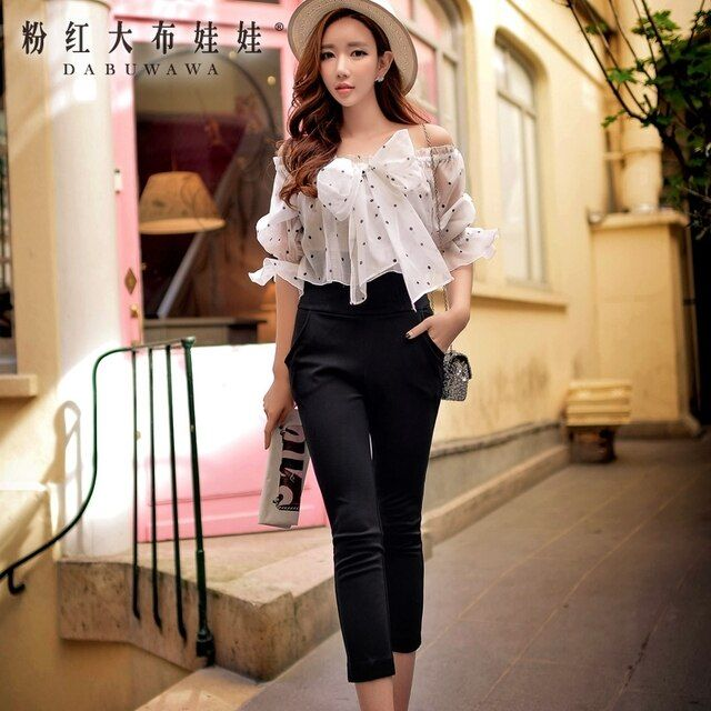 DABUWAWA Siamese Pants Female 2016 Spring and Autumn Bohemian Sexy Bow Dot Printing Jumpsuit Pink Doll