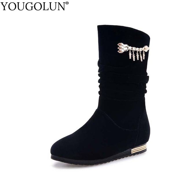 YOUGOLUN Women Boots Autumn Winter Crystal Chains Wedges Heel 2cm Shoes Mid-Calf Long Plush #Z-024