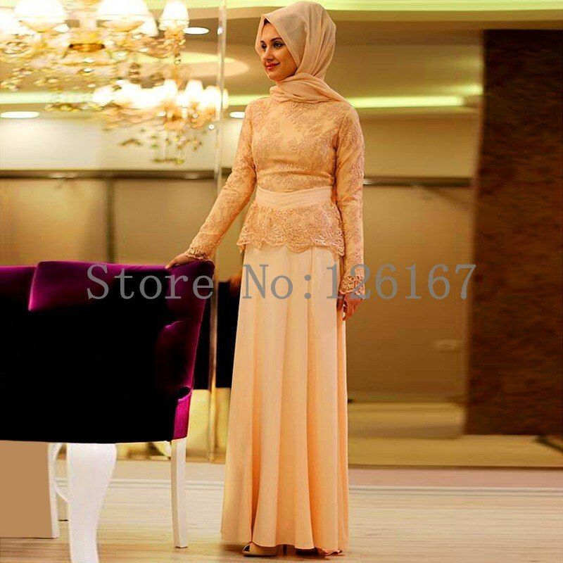 Champagne Formal Lace Long Sleeve Muslim Evening Dress Hijab Turkish Dubai Islamic Clothing Prom Gowns Party Dresses CGE416