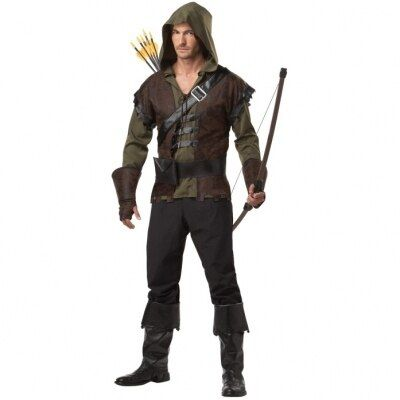 Free Shipping  Mens Robin Hood Thieves Medieval Warrior Fancy Dress Adult Costume Inclu hoodie pant belt and bootcover 565