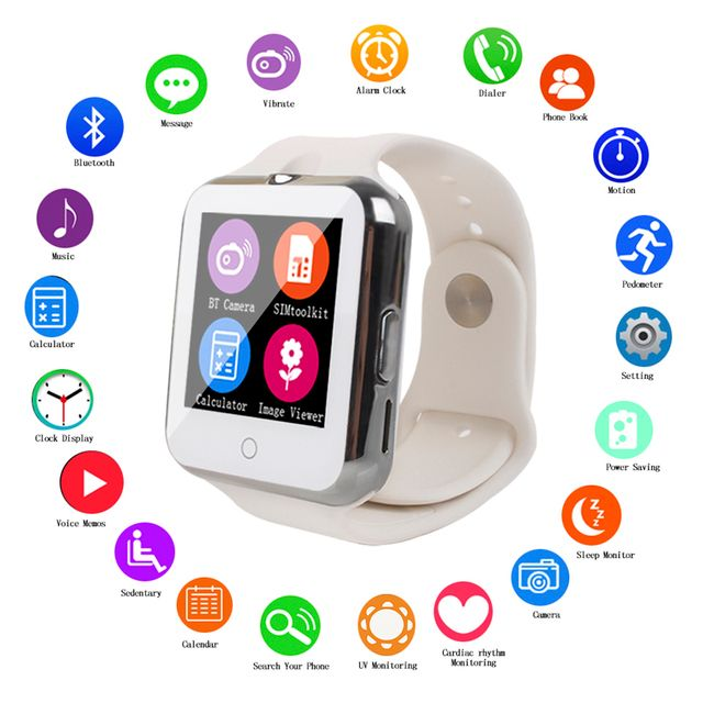 D3 Bluetooth Smart Watch for Ios Android Phone Support SIM / TF Men Women Children Heart Rate Smart Watch With Camera PK DZ09
