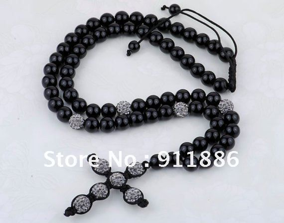 HARMONY Lampwork Handmade,Charm Gray Cross Shamballa Necklace,Fashion Crystal Christian Cross Rosary Necklace,Free Shipping