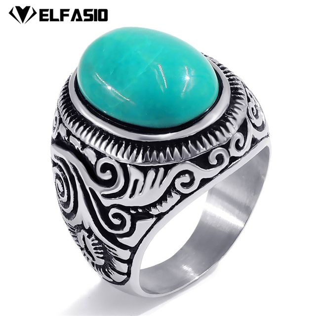 Men's Women's Natural Oval Turquoise gem Stainless Steel Ring Fashion Jewelry Size 8-15