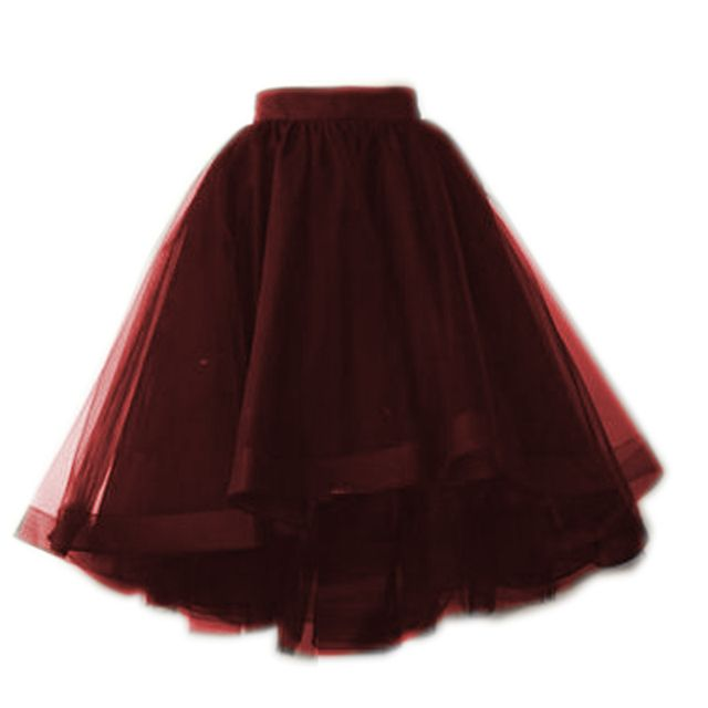 Burgundy Dark Green And Black Tulle Skirts Puffy Fashion Tutu Skirt For Women Elastic Style 5 Tulle Layers 1 Ling Summer Style