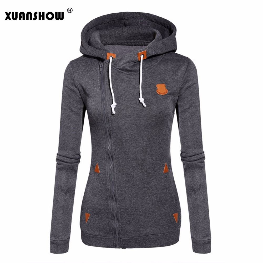XUANSHOW 2019 Women Fashion Fleeces Sweatshirts Hooded Candy Colors Solid Sweatshirt Long Sleeve Zip Up Clothing Sudaderas Mujer
