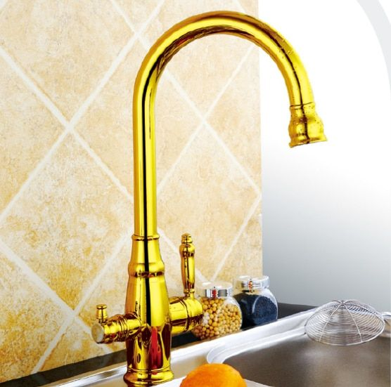 Gold kitchen faucet mixer CE & RoHS approval Ro faucet Golden three way tap for water filter
