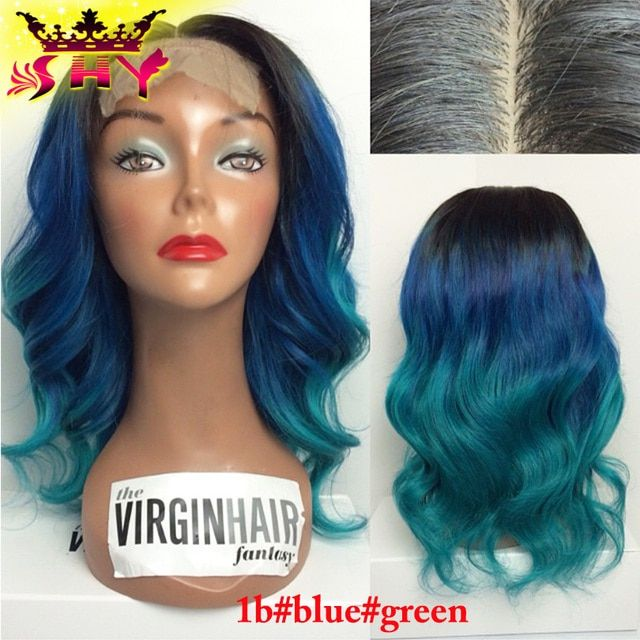 Virgin Hair Fantasy #1b#blue#green Ombre Full Lace Wig Brazilian Virgin Human Hair Glueless Ombre Lace Front Wig Freeshipping