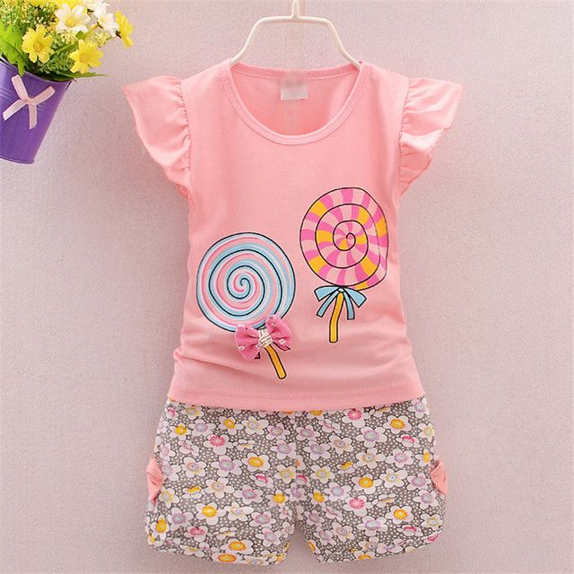BibiCola 2017 Infant clothes toddler children Baby girls summer set stripe dots 2pcs Candy baby girl clothes sets SKB06