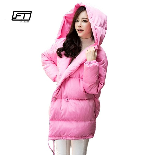 winter women loose fit coat fashion cute parkas hooded jacket overcoat medium casual plus size duck down overcoat snowear