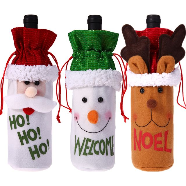 Wine Bottle Cover Bags Christmas Decoration for Home Santa Claus Santa Sack Noel Banquet Dinner Decoration Wine Bottle Covers