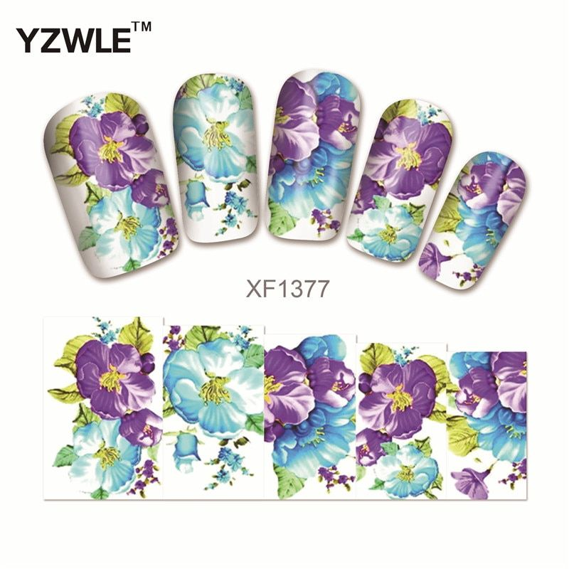 WUF Water Transfer Nail Decals Purple Flower Designs Watermark Nail Art Stickers Tattoos Decorations Tools For Polish