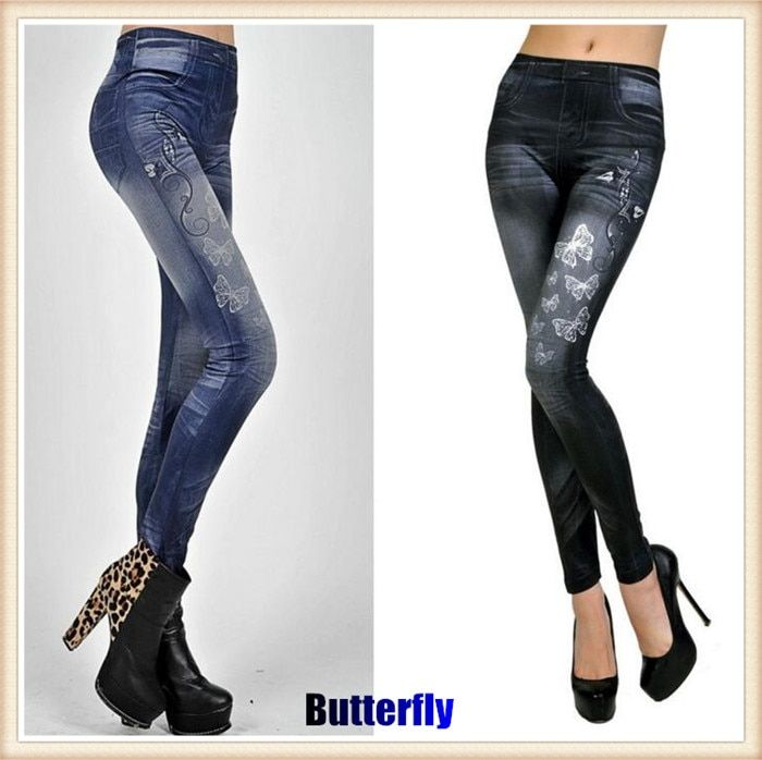 200ps!Women Sexy Tattoo Legging Jeans Look Leggings Punk Academies American Apparel Jeans Tenths Pants,Slim Fit, Were Thin