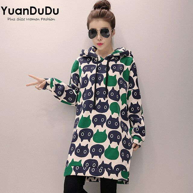 XL-5XL Plus Size Hoodies for Women 2016 Winter Cute Cartoon Cat Printed Long Sleeve Thickening Feece Long Sweatshirts Pullover