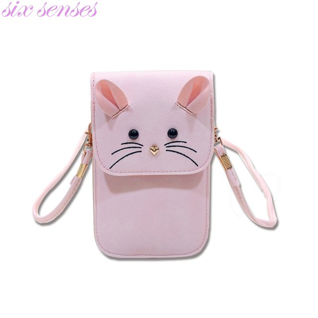 Six senses  women handbag casual purse small mouse phone package mini shoulder messenger bag cartoon bag pu leather bolsa XD3177