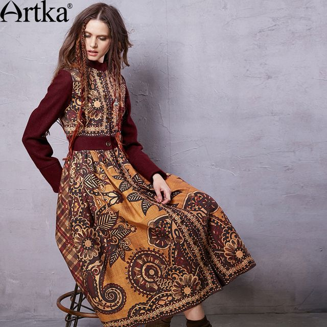 Artka Women's Winter New Ethnic Printed Woolen Coat Vintage Stand Collar Long Sleeve Outerwear Long Coat FA15558Q