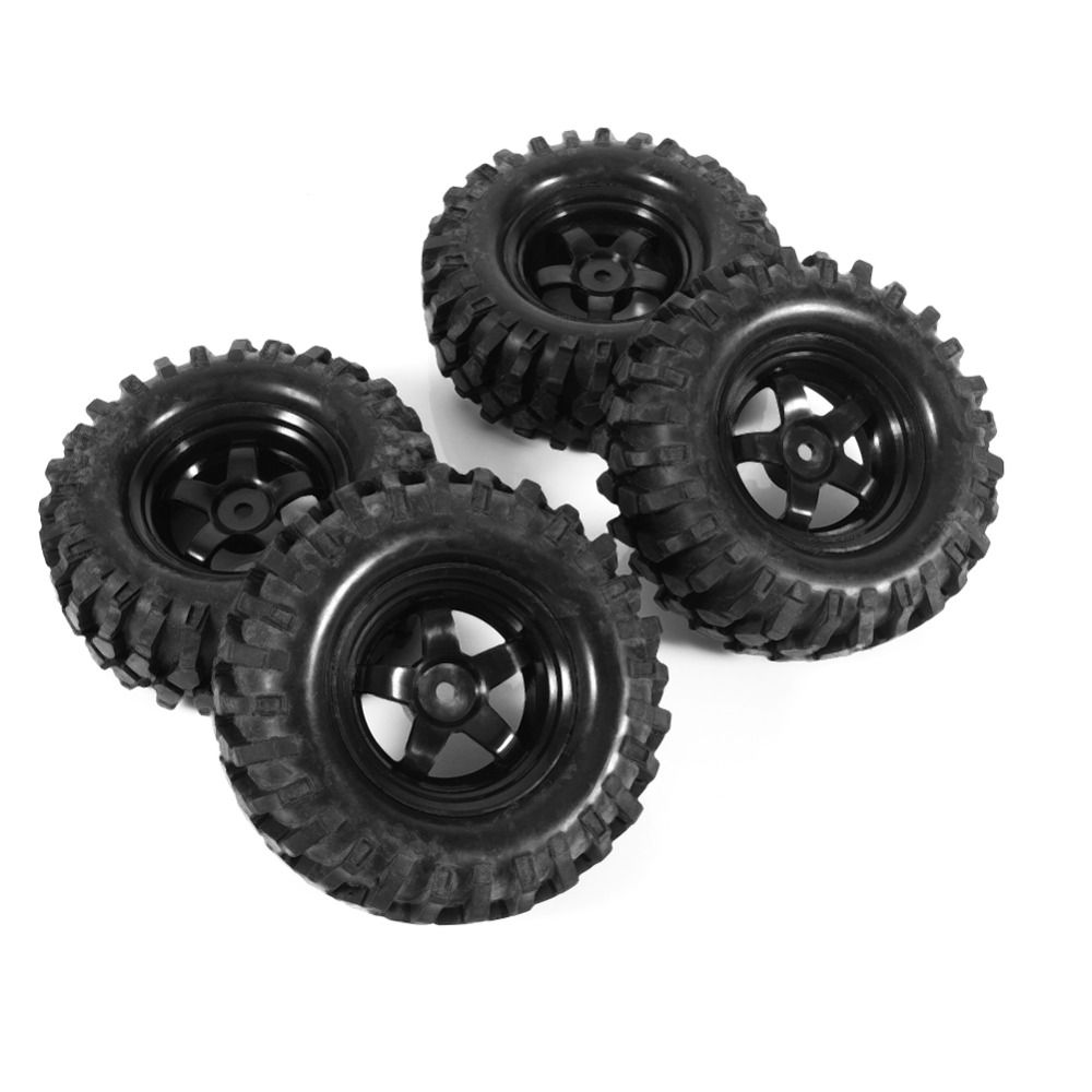 4Pcs Black 1:10 Off Road Rock Crawler Buggy RC Car Rubber Tires & Wheel Rims Abrasion Resistance Replacement Model Accessory