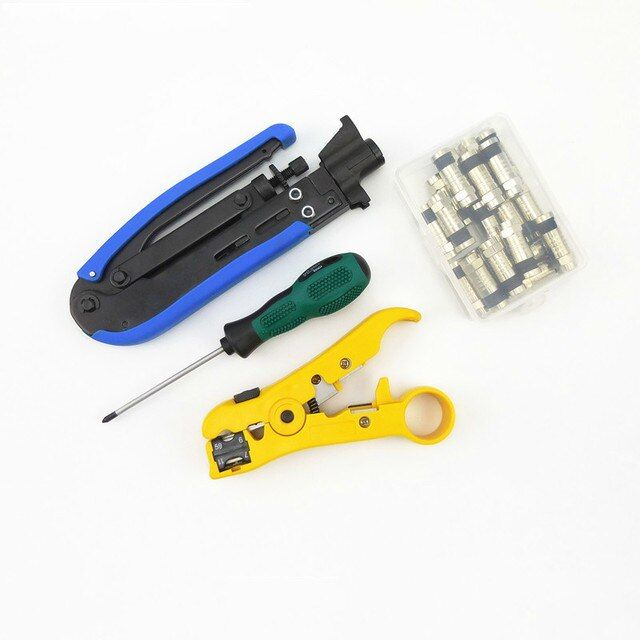 Multitool Wire Stripping Squeezing Pliers Coaxial Cable Cold Press Clamp RG6 /11 Cable TV Crimping Tool Set with 20 F Head