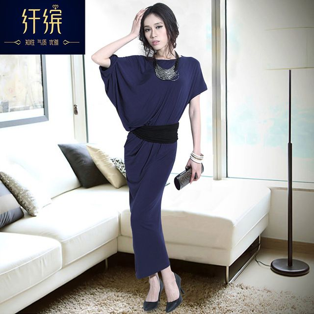 Summer 2016 female batwing sleeve short-sleeve elegant sexy full dress elegant one-piece dress