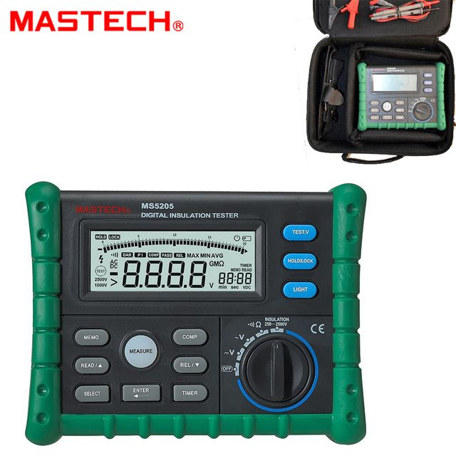 High Precision Digital MS5205 Insulation Tester Megger 100.0G MegOhm Meter DC 250/500/1000/2500V AC750V