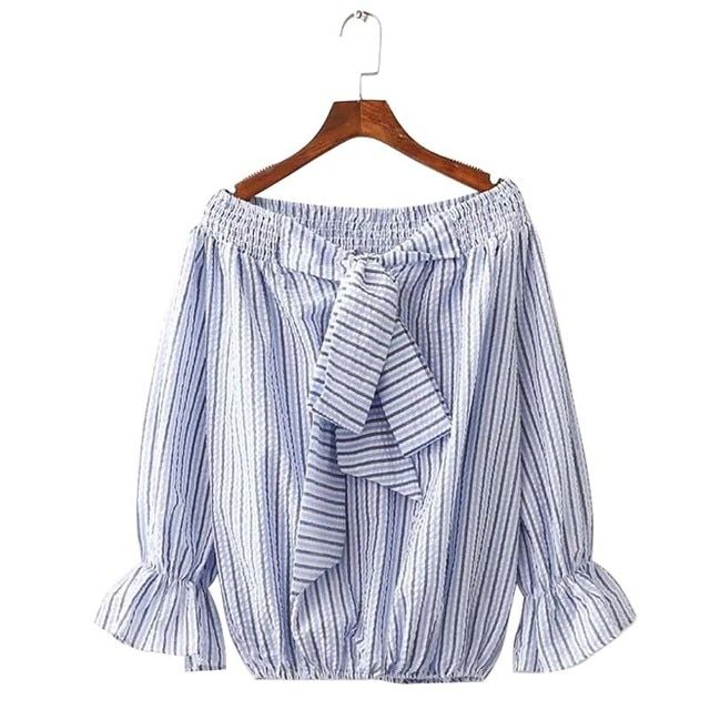 Tangada Fashion 2016 Summer Blue Striped Blouse For Women Bow Off Shoulder Slash Neck Casual Tops Shirts Female