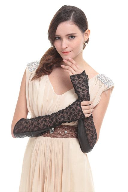 women Sheepskin long leather & Lace fingerless gloves