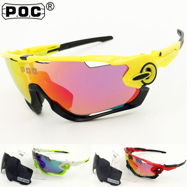 POC NEW Brand 3 Lenses Polarized Cycling Sunglasses MTB Bike Cycle Eyewear Men Women Sport Goggles Bicycle Cycle Glasses