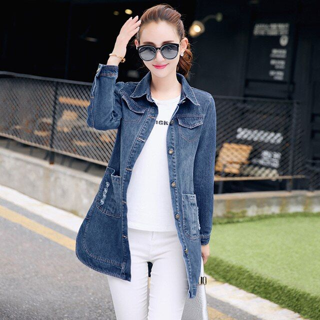 New Korean version of Slim denim jacket women jacket and long sections lapel long-sleeved denim clothing tide