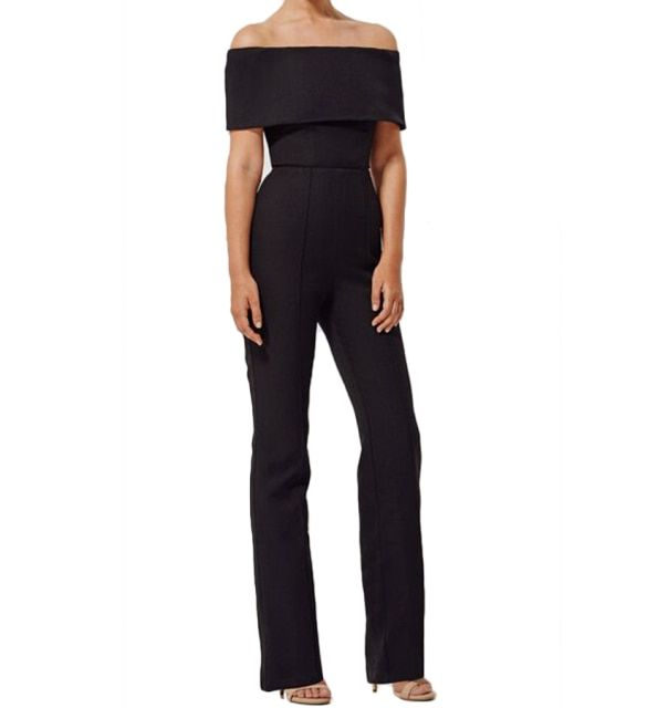 15821 straight 95%polyester 5%spandex full length black off the shoulder pantsuit