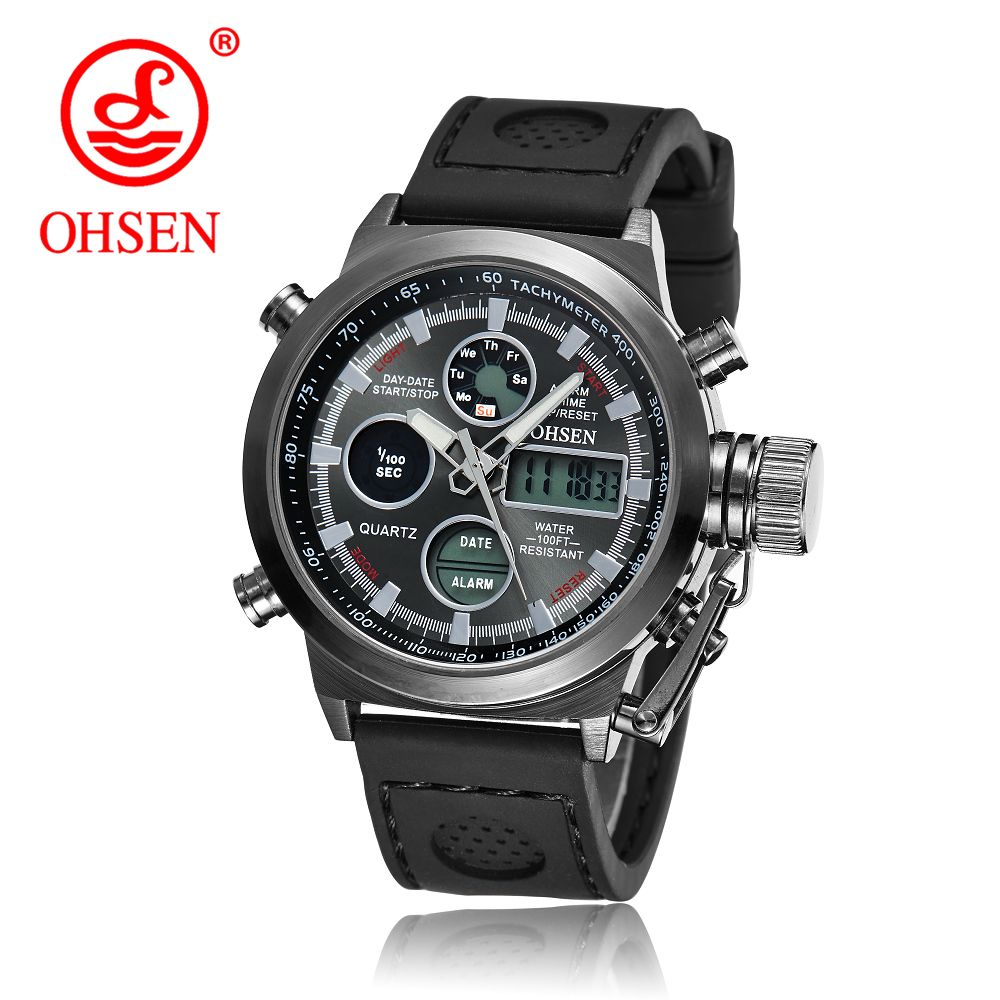 Male Fashion Sport Military Wristwatches 2018 New OHSEN Watches Men Luxury Brand 3ATM Water Resistant Quartz Alarm Sports Watch