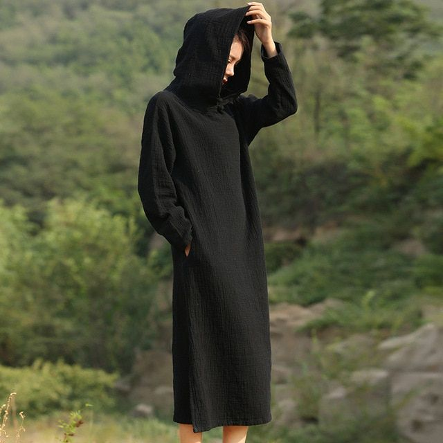Solid Black Red Long sleeve Hooded Mid Long Dress Women Autumn Cotton Linen Vintage Dress Novelty Hooded Vestidos Robe C071
