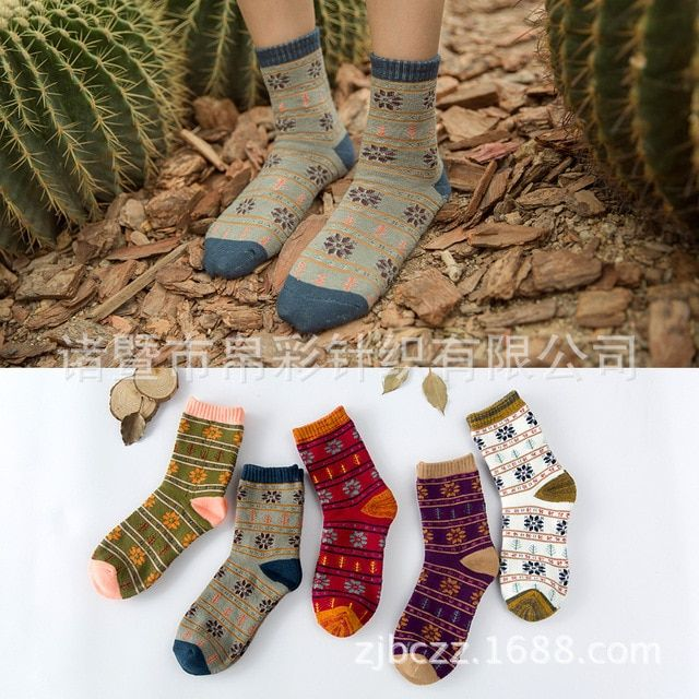 20Pairs/Lot Folk style small snowflakes terry women socks nap winter warm thickening socks cotton socks towel socks