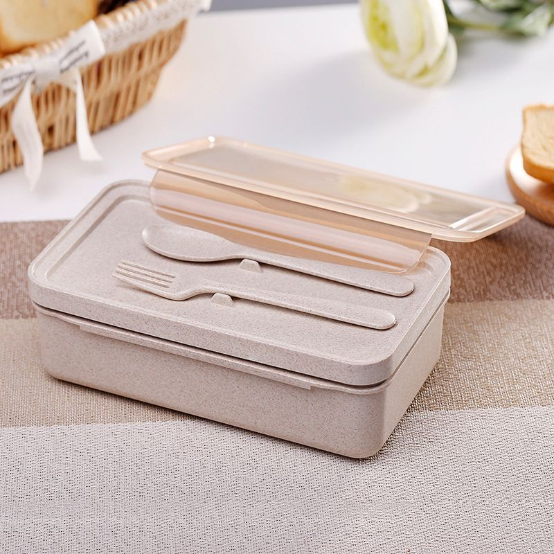 Wheat Fiber Plastic Lunch Bento Portable  Double Layered Separated Microwave Crisper 1000ML Seal Cutlery