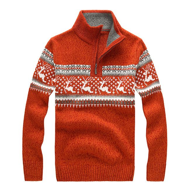 Warm Winter Sweaters Thick Casual Men's Knitwear Classic pullovers Man Zipper Sweater Stand Collar Men's Clothing A3162