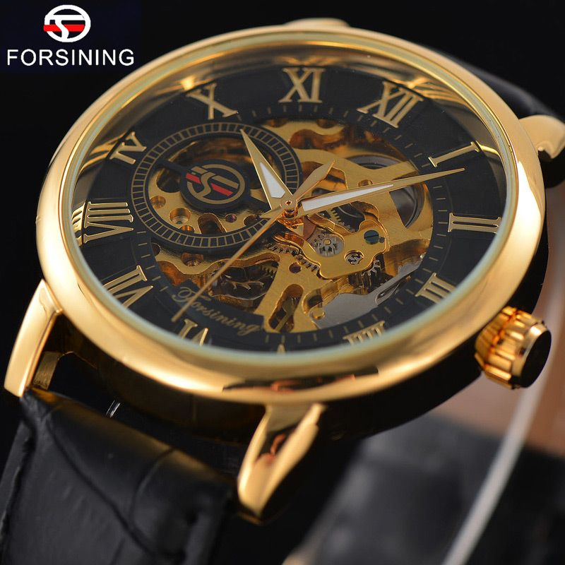 FORSINING Top Brand Luxury Mens Watch Men Military Sport Clock Hand Wind Mechanical Watches Male Business Skeleton Clocks Gift