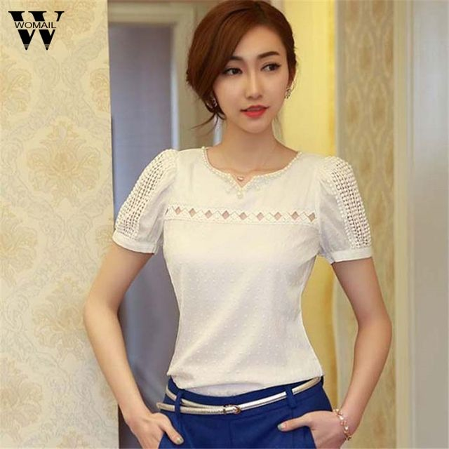 Womail summer 2017  Lady Women Lace Short Sleeve Shirt V Neck Doll Chiffon Blouse Tops white #20