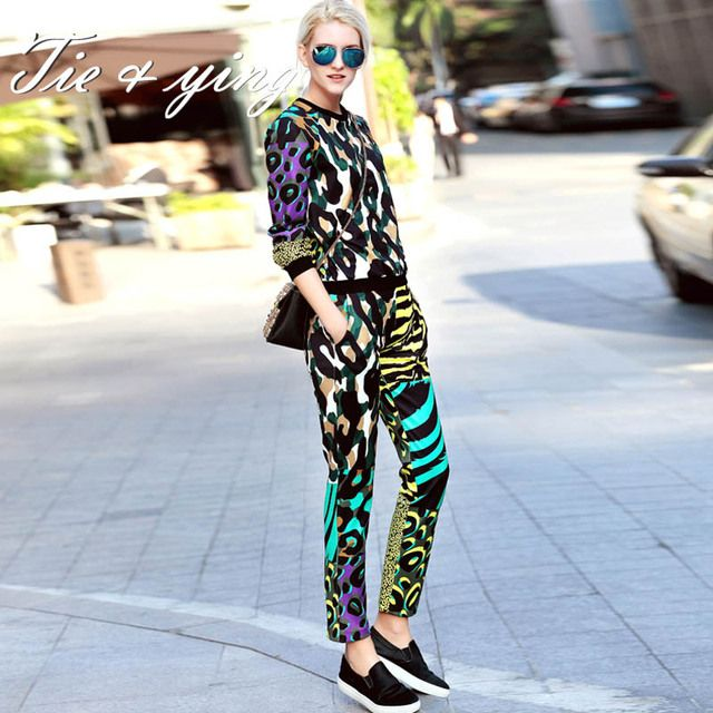 Leopard print women set 2016 spring new American European fashion runway luxury colours Hoodie top + pencil pants suit female