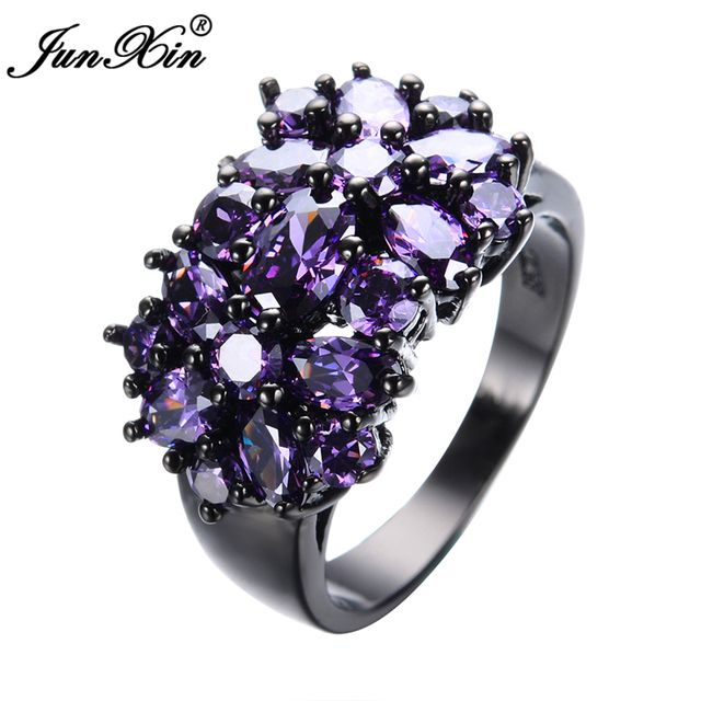 Elegant Amethyst Black Gold Filled CZ Ring Unique Design Vintage Party Wedding Rings For Women Christmas Fashion Jewelry RB0040