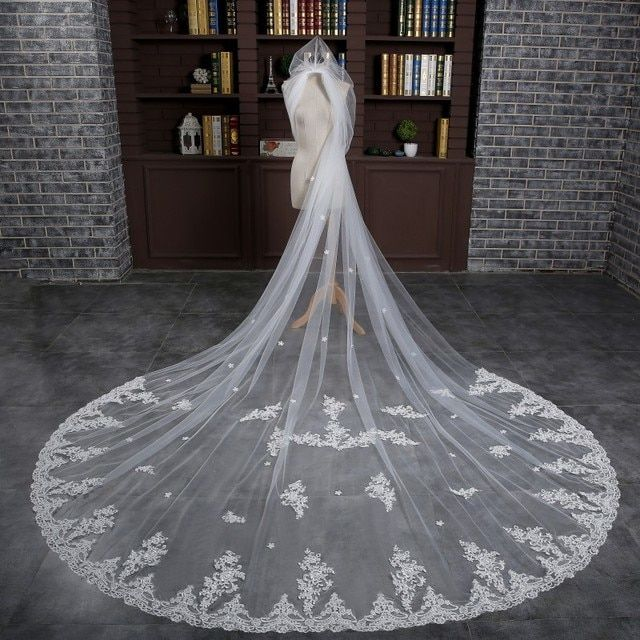 Free Shipping 3 Meters Long New Arrival Long One Layer Lace Edge White Bridal Veils with Appliques